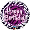 "18"" Birthday Zebra Print Mylar Foil Balloon"