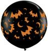 """36"""" (Three Foot) Flying Bats & Moons Halloween Latex Balloon"""