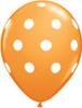 "11"" Big Polka Dots Standard Orange Latex Balloons"