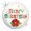 "18"" Christmas Poinsetta Mylar Foil Balloon"