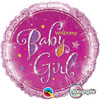 "18"" Welcome Baby Girl Stars   Mylar Foil Balloon"