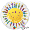 "18"" Birthday Smile & Candles  Mylar Foil Balloon"