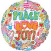 "18"" Holographic Peace Love Joy Christmas Mylar Foil Balloon"
