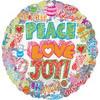 "18"" Holographic Peace Love Joy Christmas Mylar Foil Balloon"