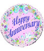 "18"" Happy Anniversary Floral Mylar Foil Balloon"