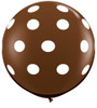 "36"" Big Polka Dots on Chocolate Brown Latex Balloons"