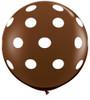"36"" Big Polka Dots on Chocolate Brown Latex Balloons"