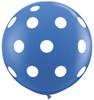 "36"" Big Polka Dots on Standard Dark Blue Latex Balloons"