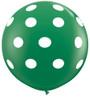 "36"" Big Polka Dots on Standard Green Latex Balloons (Christmas)"