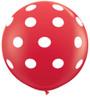 "36"" Big Polka Dots On Standard Red Latex Balloons (Christmas)"