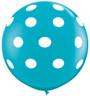 "36"" Big Polka Dots on Tropical Teal Latex Balloons"