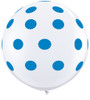 "36"" Big Standard Dark Blue Polka Dots on White Latex Balloons"