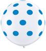 "36"" Big Standard Dark Blue Polka Dots on White Latex Balloons"