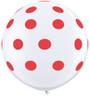 "36"" Big Standard Red Polka Dots on White Latex Balloons"