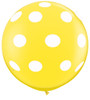 "36"" Big Polka Dots on Standard Yellow Latex Balloons"