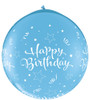 "36"" Birthday Shining Star Robin's Egg Blue (Neck-up) Latex Balloons"