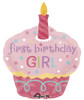 "29"" Cupcake Sweet 1st Birthday Girl Shape Mylar Foil Balloon"