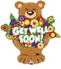 "26"" Get Well Beary Big Hug Shape Mylar Foil Balloon"