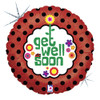 "18"" Get Well Red With Black Polka Dots   Mylar Foil Balloon"