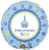 "18"" Sweet Little Cupcake 1st Birthday Boy   Mylar Foil Balloon"