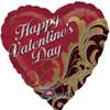 "18"" Valentine Gold Damask   Mylar Foil Balloon"
