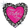 "18"" Mother's Day Damask Heart   Mylar Foil Balloon"