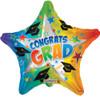 """18"""" Grad Rainbow Starburst   Mylar Foil Balloon"""