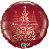 "18"" Peace Joy Damask   Mylar Foil Balloon"