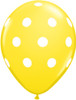 "11"" Big Polka Dots Standard Yellow Latex Balloons"