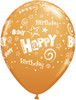 "11"" Birthday Stars and Swirls Standard Orange Latex Balloons"