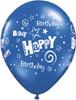 """11"""" Birthday Stars and Swirls Standard Dark Blue Latex Balloons"""