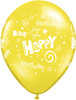 "11"" Birthday Stars and Swirls Standard Yellow Latex Balloons"