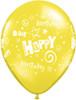 """11"""" Birthday Stars and Swirls Standard Yellow Latex Balloons"""