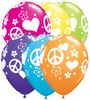 "11"" Peace Signs & Hearts Tropical Assortment Latex Balloons"