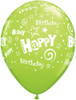"11"" Birthday Stars and Swirls Fashion Lime Green Latex Balloons"