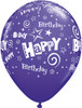 "11"" Birthday Stars and Swirls Fashion Purple Violet Latex Balloons"