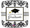 "18"" Grad Black & White  Mylar Foil Balloon"