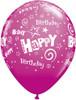 """11"""" Birthday Stars and Swirls Wild Berry Latex Balloons"""