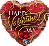"""36"""" Valentine Flourishing Heart Jumbo  Mylar Foil Balloon"""
