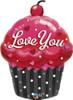 """35"""" Love You Cupcake Shape Mylar Foil Balloon"""