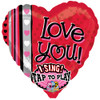 "29"" Love You Dots Singing  Mylar Foil Balloon"