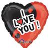 "18"" I Love You Black & Red  Mylar Foil Balloon"
