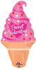 "32"" Valentine Ice Cream Cone Shape Mylar Foil Balloon"