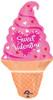 "32"" Valentine Ice Cream Cone Shape Mylar Foil Balloon"