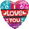 "18"" I Love You Hearts & Stripes  Mylar Foil Balloon"