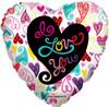 "18"" I Love You Trendy Hearts  Mylar Foil Balloon"