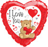 "18"" I Love You Bear Withs  Mylar Foil Balloon"