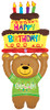 "60"" Special Delivery Birthday Bear Shape Mylar Foil Balloon"