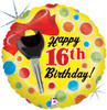 "18"" 16th Birthday Car Key  Mylar Foil Balloon"