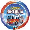 "18"" Birthday Fire Truck  Mylar Foil Balloon"